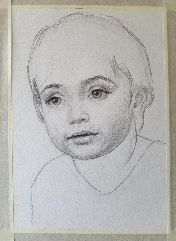 portrait d'un enfant. Etape 3